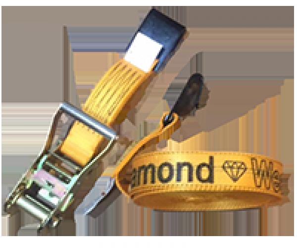 "2"" Diamond Weave Ratchet Tie-Down with Flat Hooks"