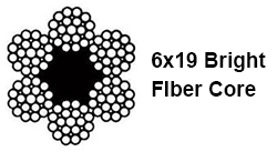 6x19 Bright Fiber Core Wire Rope